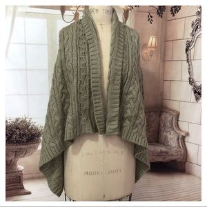 Loft Cable Knit Shaw open front sweater Medium